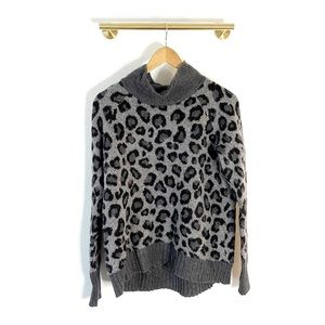 Cynthia Rowley Wool Blend Leopard Print Sweater